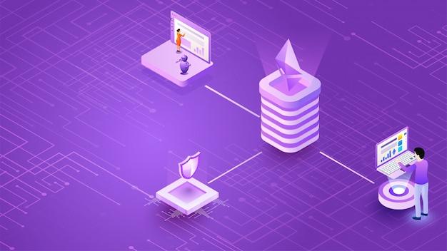 Diseño isométrico de la plataforma de cambio de moneda virtual.