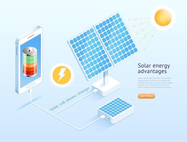 Diseño isométrico de teléfono celular solar.