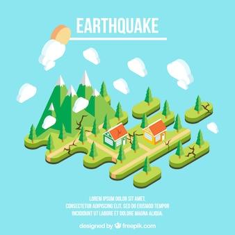 Diseño isométrico de un terremoto