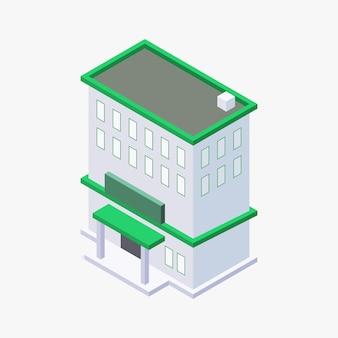 Diseño isométrico del vector del edificio
