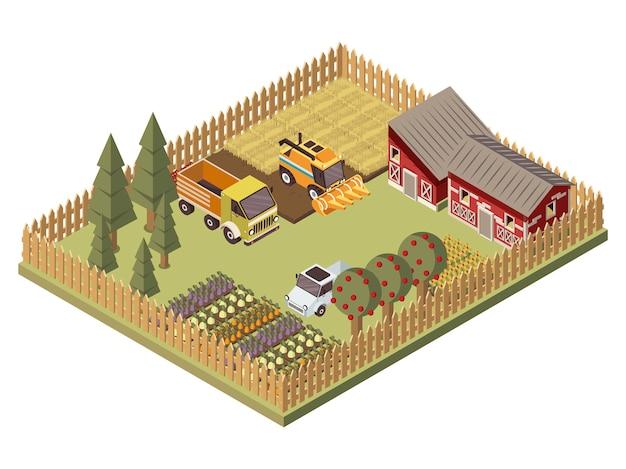 Diseño isométrico de vehículos de granja
