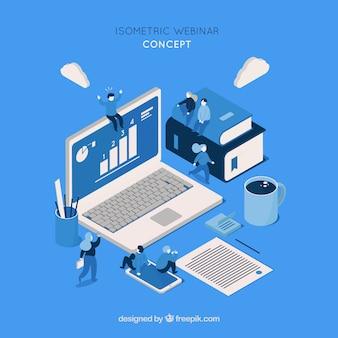 Diseño isométrico de webinar