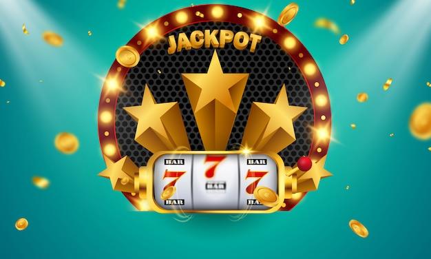 Diseño de jackpot de banner de casino decorado con monedas de signo de premio de juego brillantes doradas.