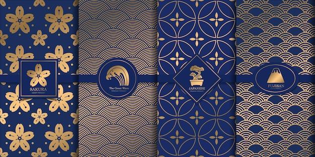 Diseño japonés de patrón dorado de lujo.