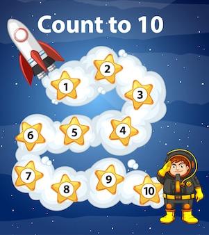 Diseño del juego con contar hasta diez en el espacio