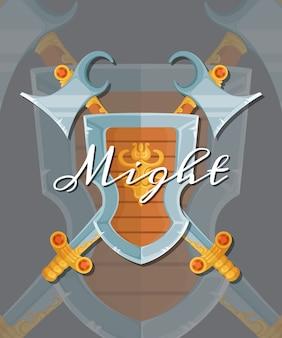 Diseño de juegos de estilo de dibujos animados de fantasía medieval cruzado escudo