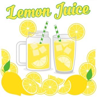 Diseño de jugo de limón vector ilustración de fondo