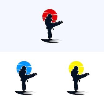 Diseño de karate de ilustración de logotipo vectorial