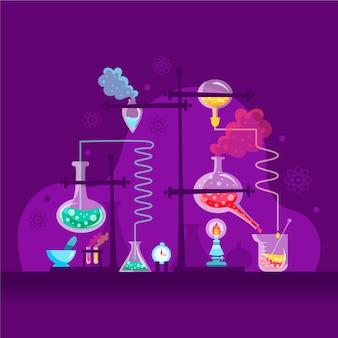 Diseño de laboratorio de ciencias dibujado a mano.