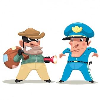 Diseño de ladrón y policía