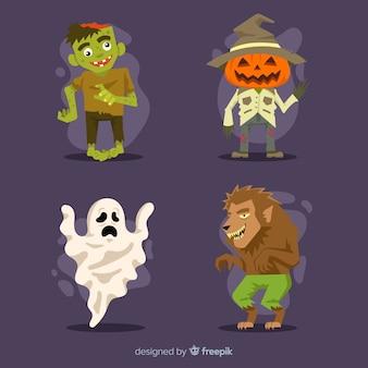 Diseño lat de colección de personajes de halloween