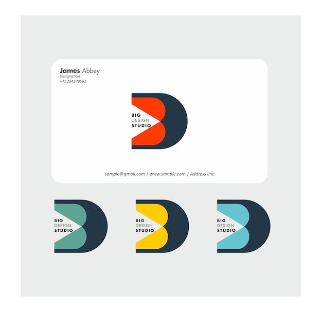 Diseño de letra d y diseño de tarjeta de visita