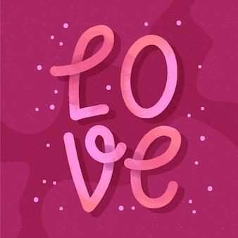 Diseño de letras de amor con degradado
