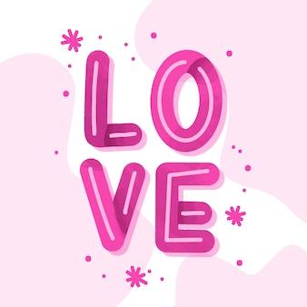Diseño de letras de amor rosa
