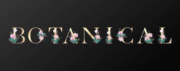 Diseño de letras botánicas en color dorado con hermosas flores sobre fondo negro.