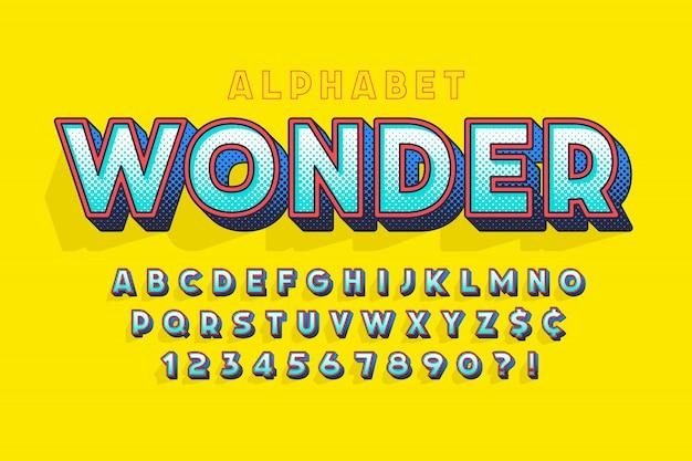 Diseño de letras cómicas de moda, alfabeto colorido, tipo de letra.