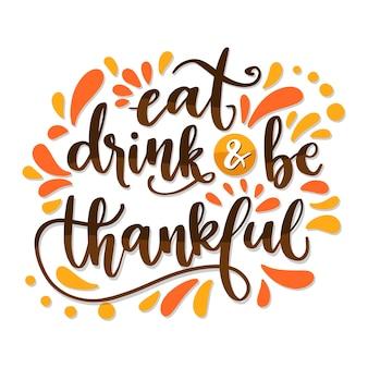 Diseño de letras para el día de acción de gracias.