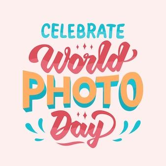 Diseño de letras del día mundial de la fotografía