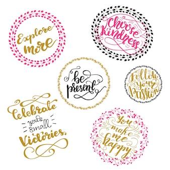 Diseño de letras motivacionales con frases de letras. ilustración vectorial