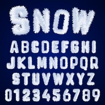 Diseño de letras y números de escarcha blanca