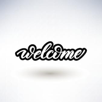Diseño de letras con una palabra bienvenida