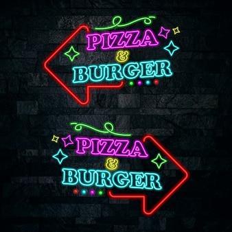 Diseño de letras de pizza y hamburguesa de neón.