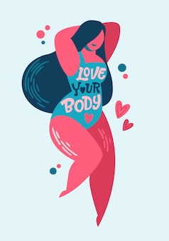 Diseño de letras positivas del cuerpo. frase de inspiración dibujada a mano - ama tu cuerpo - en un personaje de mujer de talla grande.