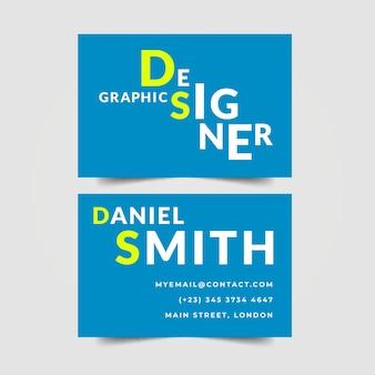 Diseño de letras de tarjetas de visita de diseñador gráfico