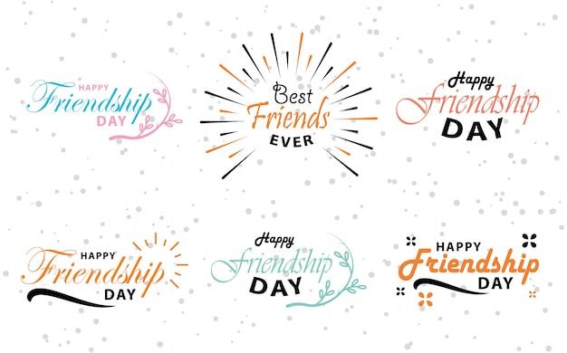 Diseño de letras tipográficas de vector de feliz día de la amistad.