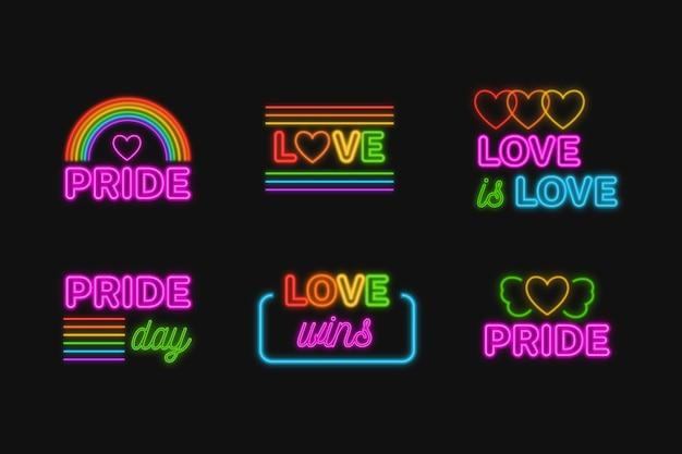 Diseño del letrero de neón del evento del día del orgullo