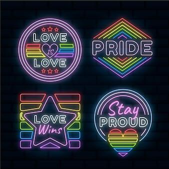Diseño de letreros de neón del día del orgullo