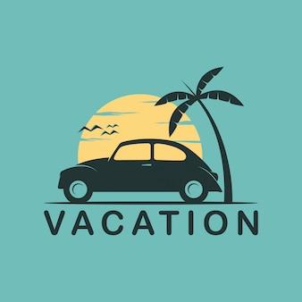 Diseño limpio de logotipo simple de vacaciones