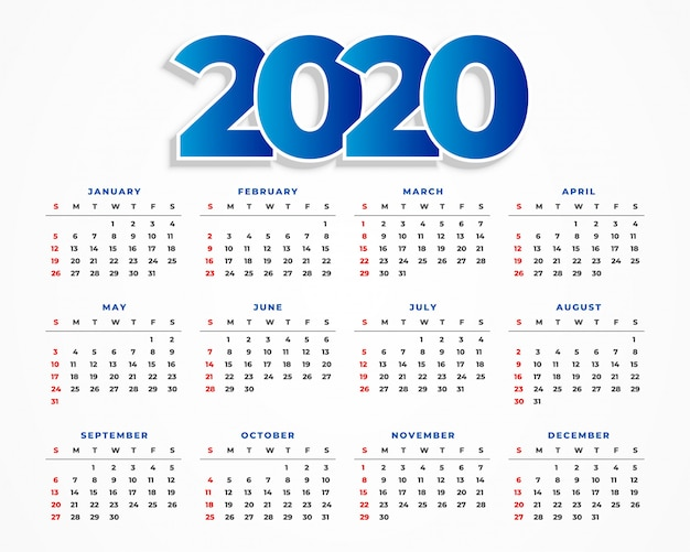 Diseño limpio de la plantilla del calendario 2020