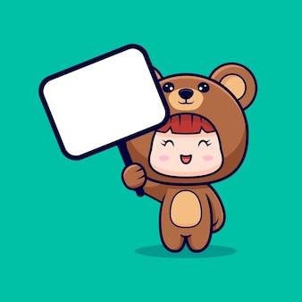 Diseño de linda chica con disfraz de oso y sosteniendo un tablero de texto en blanco