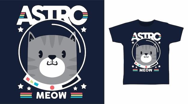 Diseño lindo de la camiseta del astronauta del gato astromeow