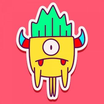 Diseño lindo del doodle del personaje del monstruo