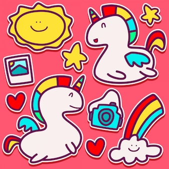 Diseño lindo del doodle del unicornio