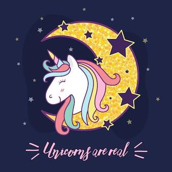 Diseño lindo del ejemplo del personaje de dibujos animados del unicornio