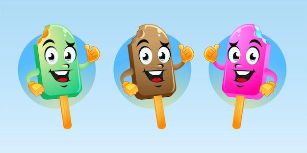 Diseño lindo de la historieta de la mascota del helado