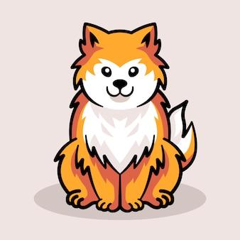 Diseño lindo del logotipo de la mascota del zorro para la ilustración