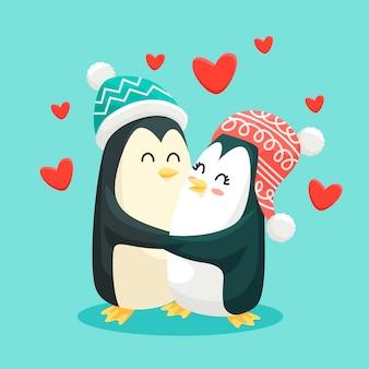 Diseño lindo de la pareja animal del día de san valentín para la ilustración