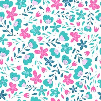 Diseño lindo patrón floral sin fisuras
