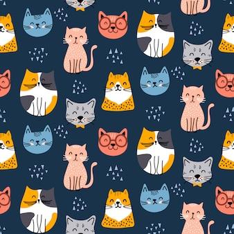 Diseño lindo patrón de gato sin costura