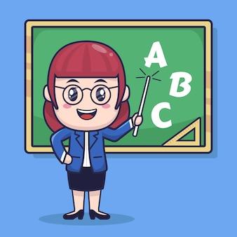 Diseño lindo del personaje de dibujos animados del profesor de la muchacha