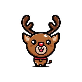Diseño de lindo reno de nariz roja