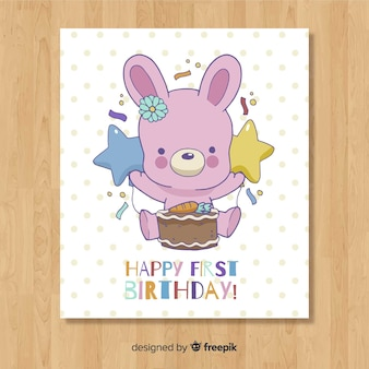 Diseño lindo de tarjeta del primer cumpleaños