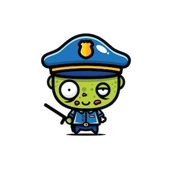 Diseño lindo del vector del zombi de la policía