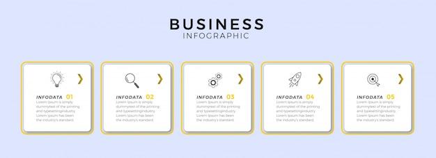 Diseño de línea delgada de infografía con iconos y 5 opciones o pasos.