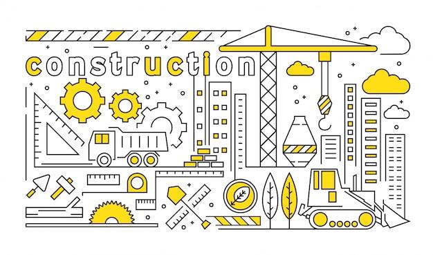 Diseño de línea delgada con tema de desarrollo. concepto de ilustración doodle amarillo juvenil