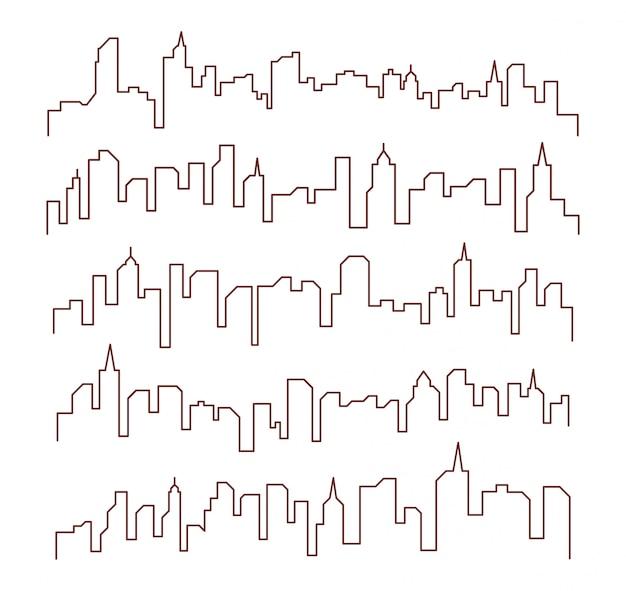 Diseño de línea edificio paisaje urbano